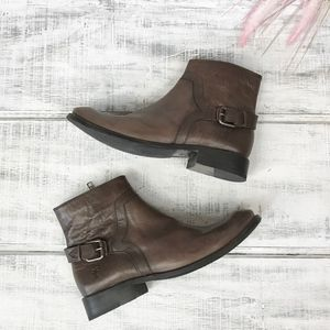 Frye Charcoal Shirley Shield Short Leather Booties